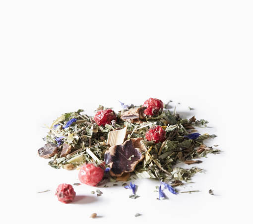 Organic Baby's Little Helper loose leaf tea on a white background.