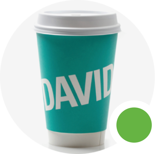 Chat bot messenger bubble with DAVIDsTEA to go cup and green active status.