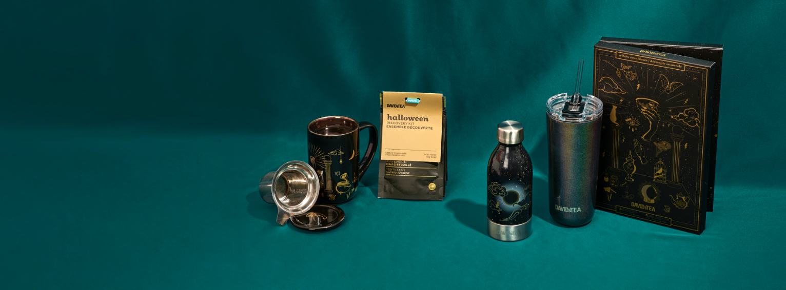 Various Halloween products: ceramic mug with infuser, tea gift set, tea bottle, travel mug with straw, 10-day tea countdown.