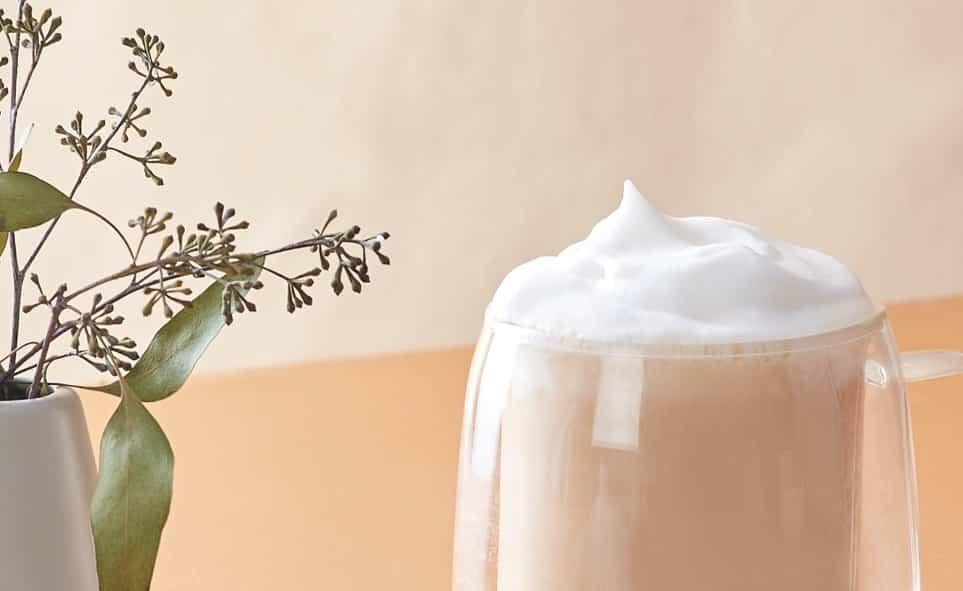 Une tasse à double paroi remplie de thé à côté d'un vase mince contenant des feuilles sauvages.